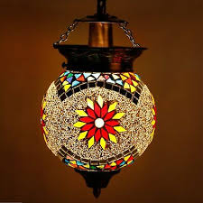 decorated white glass hanging light