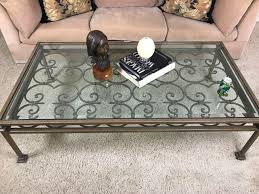 large wrought iron beveled glass top