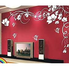Amazon Com Ditooms Flowers Wall Decal White Vines Wall Decal Butterflies Wall Stickers Removable Sticker Fashion Bedroom Decor Home Decor Home Kitchen
