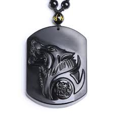 natural black obsidian carving wolf