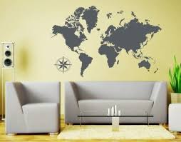 Amazon Com Style Apply Detailed World Map Wall Decal Educational Wall Decal Map Sticker Vinyl Wall Art Geography Decor 3712 Dark Gray 39in X 25in Home Kitchen