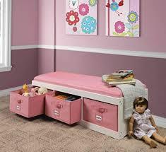 Storage Bench For Kids Toy Box Bedroom Playroom Furniture Organizer Basket Pink For Sale Online Ebay