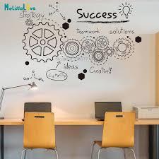 Success Teamwork Office Quote Wall Decal Teamwork Gear Stickers Inspirational Motivational Classroom Vinyl Wallpaper Ba924 Leather Bag