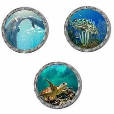 3pcs Ocean Animal Wall Decal 3d Porthole Underwater Scenery Wall Sticker Fashion Home Garden Homedcor Decalss In 2020 Animal Wall Decals Wall Decals Wall Sticker