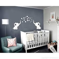 Lhkser Cute Elephant Blowing Bubbles Wall Decal Vinyl Wall Sticker Baby Nursery Decor Kids Room Wall Stickers Grey White B076dwypwh