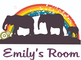 Rainbow Elephant Silhouette Animal Customized Name Wall Decal Custom Vinyl Wall Art Personalized Name Baby Girls Boys Kids Bedroom Wall Decal Room Decor Wall Stickers Decoration Size 12x20 Inch
