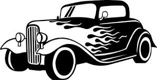 Flaming Car Wall Decal Auto Old Fashioned Route 66 Decal Boys Room Decor Vinyl Decal Ideas Car Drawings Car Silhouette Drawing Machine