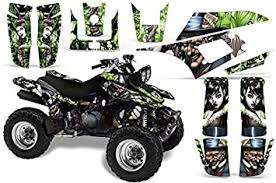 Amazon Com Amr Racing Atv Graphics Kit Sticker Decal Compatible With Yamaha Warrior 350 All Years Mad Hatter Silver Green Automotive