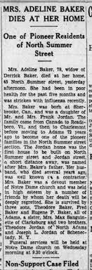 Adeline (Jordan) Baker, daughter of Frank Jordan, widow of Derrick ...