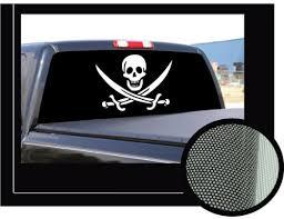 Pirate 22 X 65 Rear Window Graphic Decal Jolly Roger Skull View Thru Vinyl Tegangloverjjpl