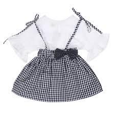 Váy kẻ caro kèm áo trắng tay bèo HTKids - Kidsplaza.vn