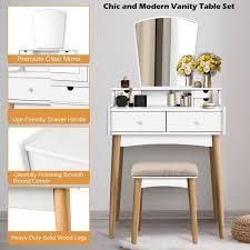 costway 2 piece white vanity table set