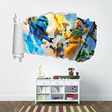 Home Garden Children S Bedroom 3d Decor Decals Stickers Vinyl Art Lego Ninjago 3d Torn Hole Ripped Wall Sticker Decal Home Decor Art Mural Wt154