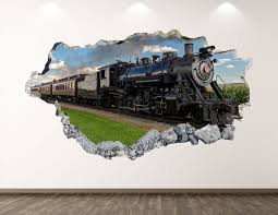 Vintage Train Wall Decal History 3d Smashed Wall Art Sticker Etsy
