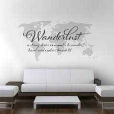 Wanderlust World Map Decal Large World Map Vinyl Wall Etsy