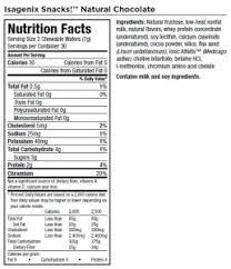 isagenix shake nutrition label