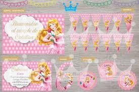 Kit Impreso Princesa Aurora Bella Banderin Cartel Stickers 650