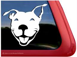 Custom Smiling Pit Bull Decals Stickers Nickerstickers