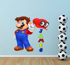 Mario Custom Name Wall Decal Personalized Wall Decal Mario Etsy