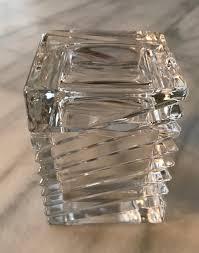 vintage crystal trinket box with lid