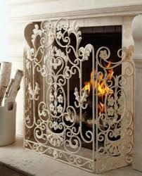 french country white iron fireplace