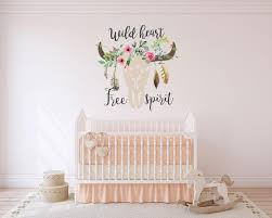 Boho Wall Decals Wild Heart Free Spirit Wall Decal Boho Floral Cow Walls2lifedecals