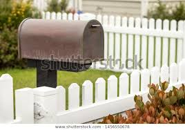 Mailbox Along White Picket Fence Residential Stock Photo Edit Now 1456550678