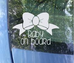 Baby On Board Bow Window Decal Car Decal New Baby Baby Etsy