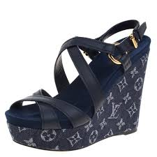 louis vuitton blue denim and leather