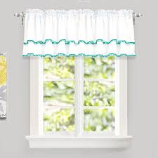 Driftaway Pom Pom Ruffle Window Curtain Valance For Kids Room Rod Pocket One Panel 52 X18 Plus 2 Header Aqua Walmart Com Walmart Com