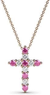 pink sapphire diamond cross pendant