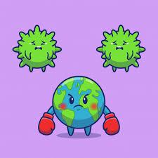 World Fight Corona Virus Icon Illustration. Personnage De Dessin ...