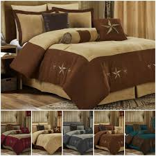 7 pc embroidery bedding beige brown
