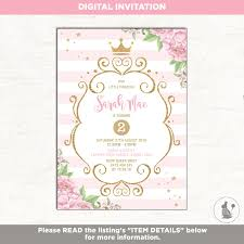 Princess Birthday Invitation Pink And Gold Party Invite Royal