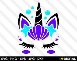 Unicorn Face Digital Files Featuring Unicorn Face Mermaid Hair Starfish Seashells Eyelashes Horn And Cricut Crafts Unicorn Face Little Mermaid Silhouette