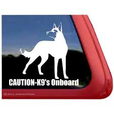 Amazon Com Caution K9 S Onboard Vinyl Window Decal Belgian Malinois Dog Sticker Automotive