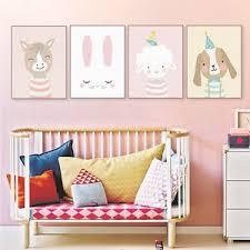 Kawaii Bear Deer Rabbit Posters Nordic Baby Kids Room Wall Decor Canvas Painting Ebay