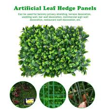 Artificial Leaf Hedge Panel Green Leaves Lawn Privacy Screen Backyard Home Decor Garden Fence Artificial Plant Background Wall Artificial Plants Aliexpress