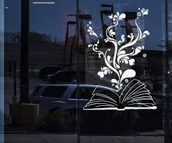 Window Sign And Wall Decal Book Bookworm Library Bookstore School Stic Wallstickers4you