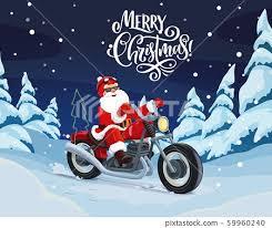 santa riding motorbike to deliver