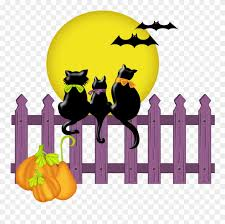 Collection Of Halloween High Quality Free Cats On A Fence Clipart Png Download 76152 Pinclipart
