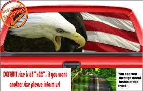 W568 Bald Eagle American Flag Patriot Rear Window Perforated Car Decal Sticker Ebay