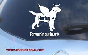 Labrador Retriever Custom Angel Wings And Halo Silhouette Vinyl Sticker Personalized Car Decal Blakdogs Vinyl Designs