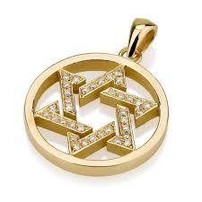 star of david pendant 18k yellow gold
