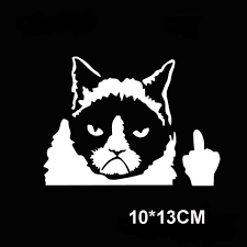 New Nail Claw Decal Vinyl Car Sticker Grumpy Cat Middle Finger Flipping Off Wish