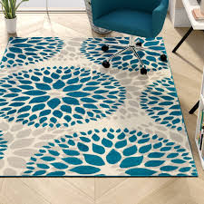 wallner power loom teal blue area rug