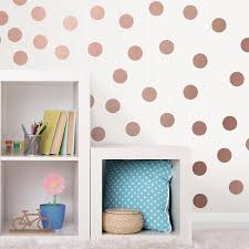 Wall Pops Pink Metallic Rose Gold Dots Wall Decal Set Of 2 Twpk2667 The Home Depot