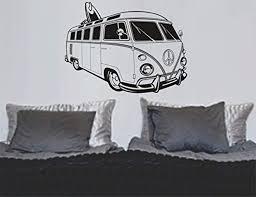 Amazon Com Wall Vinyl Decal Vw Bus Mural Art Graphic Beach Bug Volkswagon Decor Sticker Home Print Wd9080 Home Kitchen