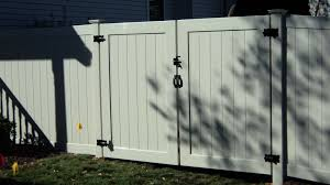 Double Gate In 6 High Beige Vinyl Backyard Gates Vinyl Fence Outdoor