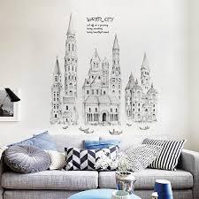 Black Sketch City Tall Buildings Set Wall Stickers Pvc Diy Mural Art For Living Room Sofa Decor Background Decals Pixdora